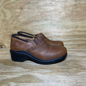 Ariat Safety Clogs Steel Toe Womens Size 8 B Brown Slip On Work Shoes 10002367